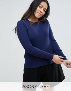 Джемпер в рубчик со шнуровкой на плечах ASOS CURVE - Темно-синий