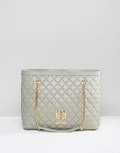 Стеганая сумка-шоппер с цепочкой Love Moschino - Серый