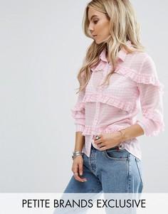 Блузка в клеточку с оборками Glamorous Petite - Розовый