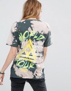 Рваная футболка с кружевной отделкой и принтом ASOS - Мульти