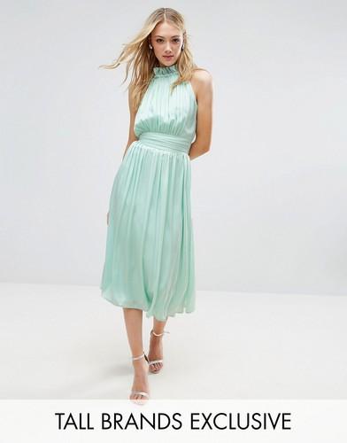 Приталенное платье миди для выпускного Little Mistress Tall - Зеленый