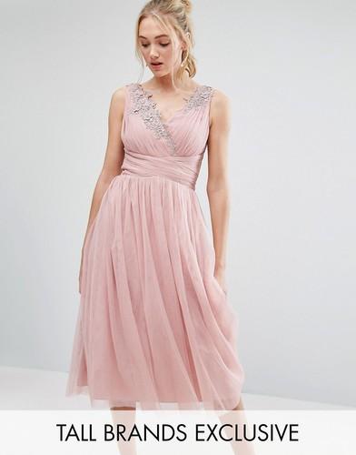 Тюлевое платье миди для выпускного Little Mistress Tall - Розовый