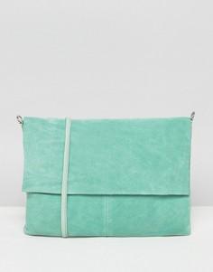 Кожаная сумка без подкладки со съемным ремешком через плечо ASOS - Зеленый