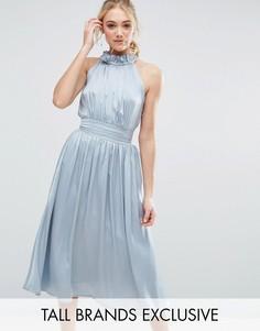 Приталенное платье миди для выпускного Little Mistress Tall - Синий