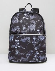 Рюкзак с принтом драконов и отделкой из искусственной кожи ASOS - Черный
