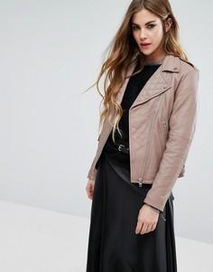 Байкерская кожаная куртка Religion - Серый