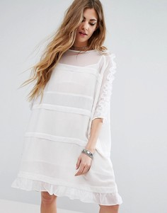 Прозрачное платье-футболка с оборками на рукавах и по кромке Religion - Белый
