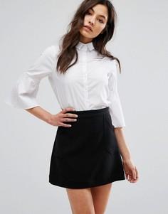Поплиновая рубашка с расклешенными рукавами New Look - Белый