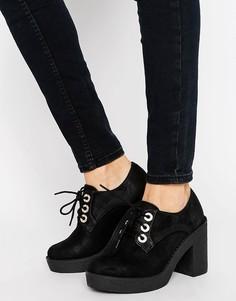 Туфли на массивном каблуке со шнуровкой Blink - Черный