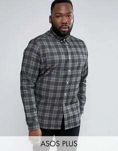 Черная приталенная джинсовая рубашка в клетку ASOS PLUS - Черный