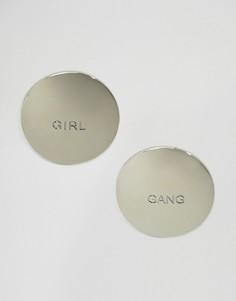 Серьги-гвоздики Girl Gang ASOS - Серебряный