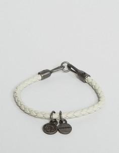 Плетеный кожаный браслет Diesel Asanty - Бежевый