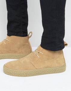 Песочные замшевые ботинки чукка на шнуровке ASOS - Stone