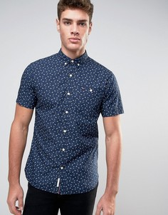 Темно-синяя рубашка узкого кроя с короткими рукавами и принтом Hilfiger Denim - Темно-синий