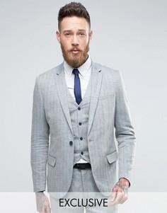 Приталенный пиджак с шевронным узором Only & Sons - Синий
