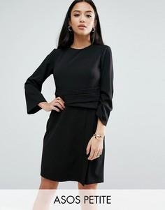 Платье мини с запахом и расклешенными рукавами ASOS PETITE - Черный