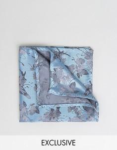 Жаккардовый платок для нагрудного кармана с цветочным принтом Noose & Monkey - Синий