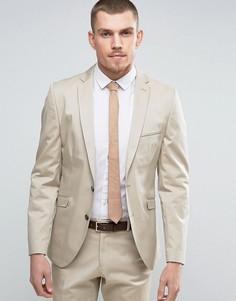 Приталенный пиджак из эластичного хлопка Selected Homme - Stone