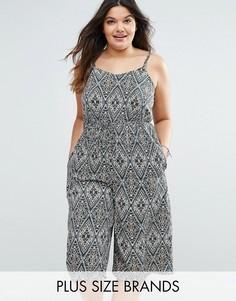 Комбинезон с юбкой-шортами и платочным принтом Diya Plus - Мульти