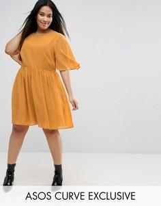 Платье мини с мягкими рукавами-кейп ASOS CURVE - Желтый