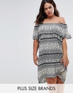 Платье с открытыми плечами и оборками Diya Plus - Синий