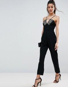 Комбинезон с кружевом и широкими брюками со складками ASOS - Черный