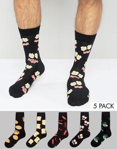 Набор из 5 пар носков с принтом завтрака ASOS - Мульти