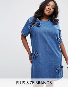 Цельнокройное джинсовое платье с бантом Alice & You - Синий