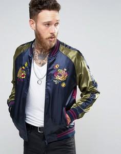 Атласная сувенирная куртка премиум-класса с вышивкой Devils Advocate - Темно-синий