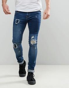Темные суперузкие джинсы с рваной отделкой и заплатками Always Rare Dexter - Синий