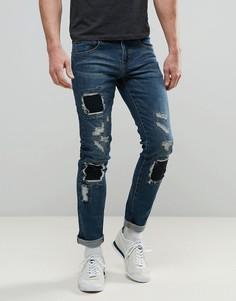 Выбеленные джинсы скинни с нашивками Always Rare Tyler - Синий