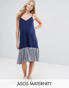 Платье на бретельках с подолом в клеточку ASOS Maternity - Темно-синий