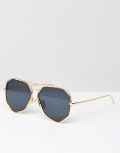 Солнцезащитные очки-авиаторы в золотистой оправе с вырезами A J Morgan - Золотой