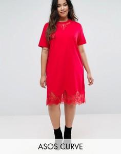 Платье-футболка с кружевными вставками ASOS CURVE - Красный