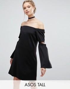 Платье-трапеция с открытыми плечами и разрезами на рукавах ASOS TALL - Черный
