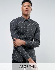 Джинсовая рубашка скинни с якорями ASOS TALL - Черный