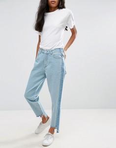 Асимметричные прямые джинсы с контрастными вставками и высокой талией Chorus - Синий