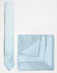 Синий галстук и платок для нагрудного кармана ASOS WEDDING - Синий
