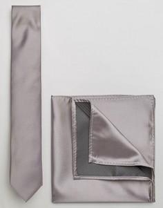 Серый галстук и платок для пиджака ASOS WEDDING - Серый