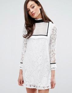 Платье с контрастной отделкой по краю Fashion Union - Белый