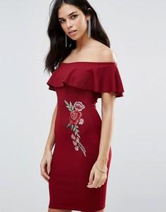 Платье с открытыми плечами и цветочной вышивкой Parisian - Красный