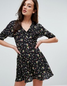Платье с мелким цветочным принтом Fashion Union - Черный