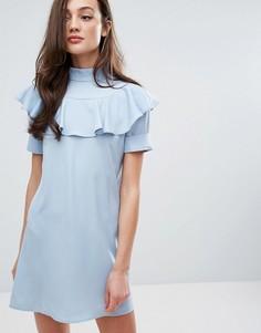 Цельнокройное платье с оборками спереди Fashion Union - Синий