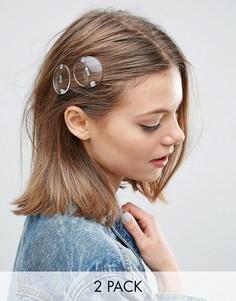 2 заколки для волос с прозрачными кругами ASOS - Прозрачный