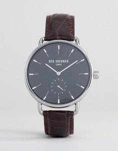 Часы с коричневым кожаным ремешком Ben Sherman - Коричневый
