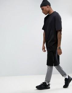 Длинная черная oversize-футболка ASOS - Черный