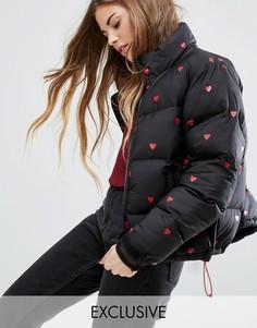 Дутая куртка с сердечками Lazy Oaf - Черный