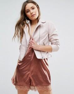 Байкерская куртка из кожзаменителя New Look - Розовый