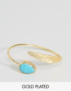Браслет с полудрагоценным камнем и пером Ottoman Hands - Золотой