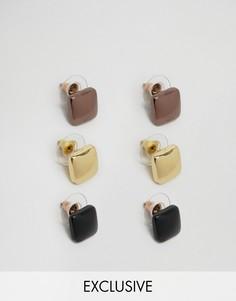Набор из 3 пар серег-гвоздиков DesignB London - Мульти
